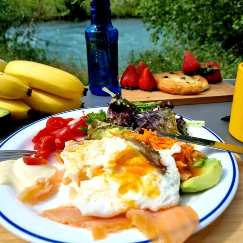 cycling france pyrenees breakfast view