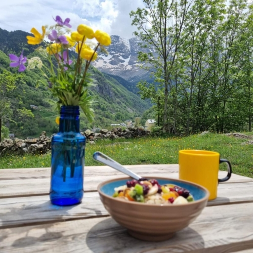 cycling france pyrenees cafe breakfast